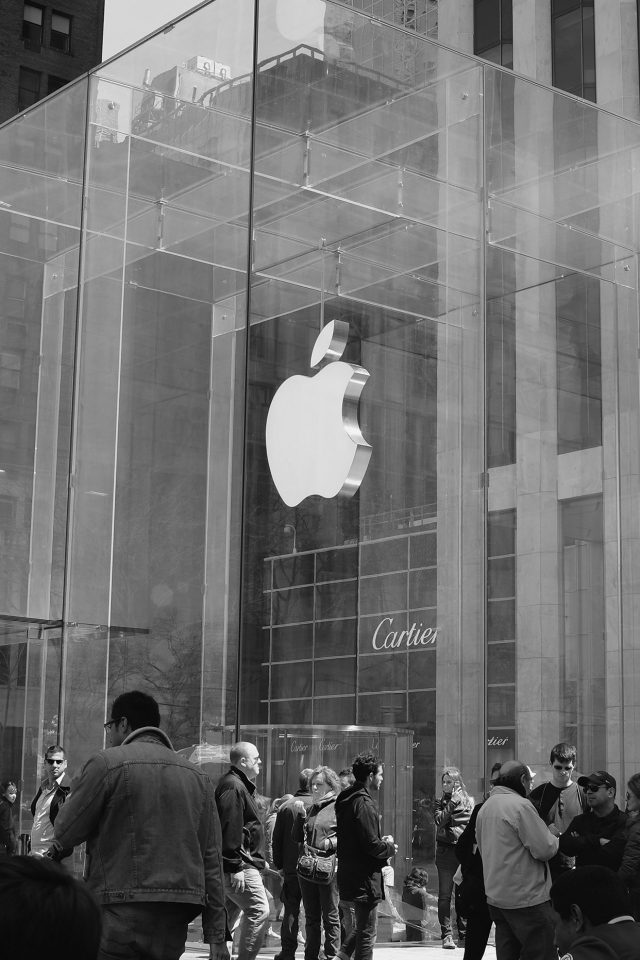 Apple Shop Newyork Dark Bw Cartier City Android wallpaper