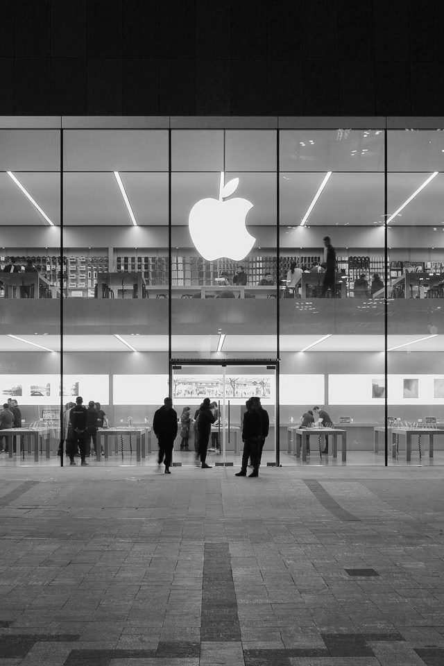 Apple Store Front Bw Dark Architecture City Android wallpaper