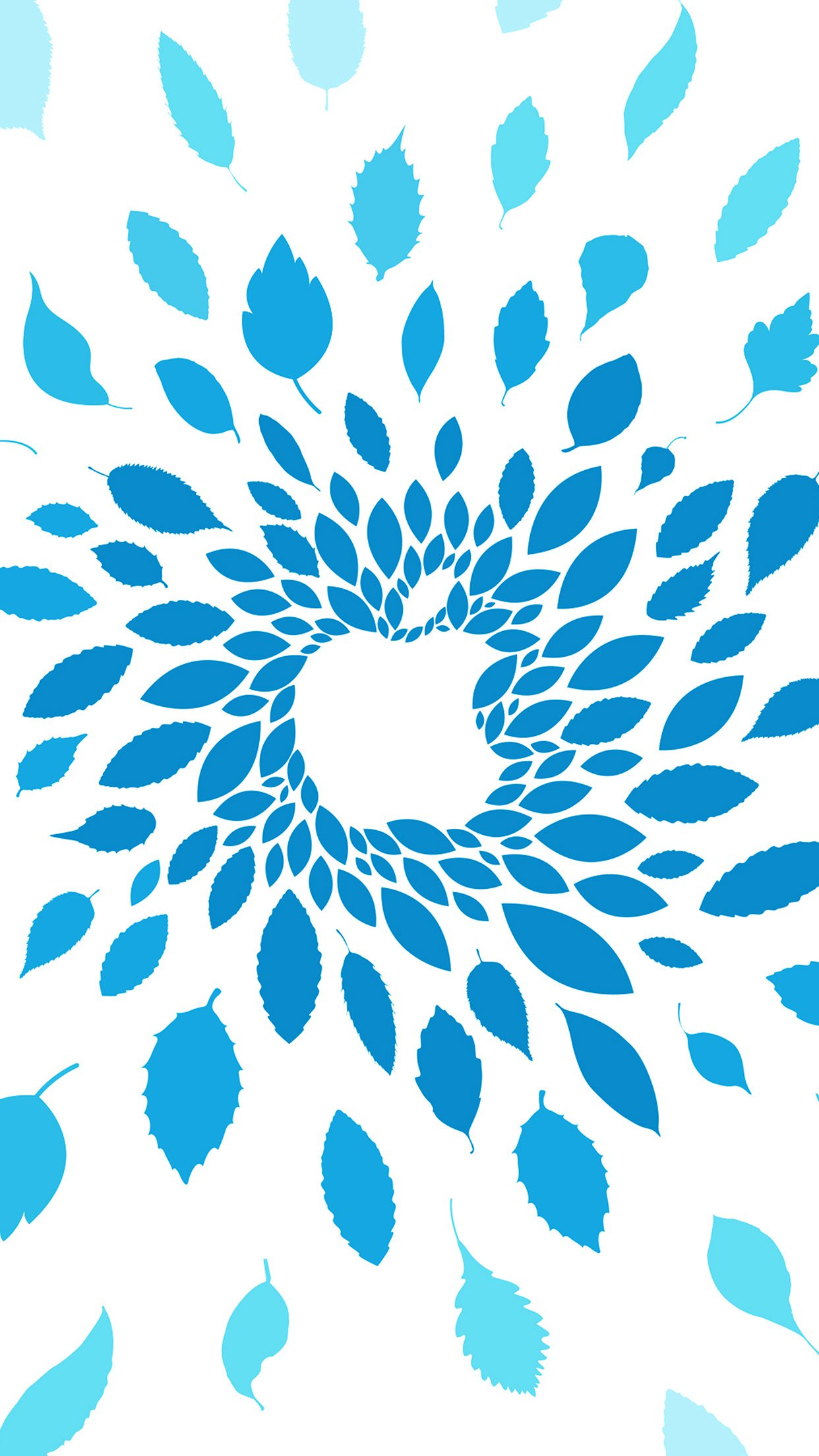 Apple Store Leafs Art Pattern Blue Android wallpaper