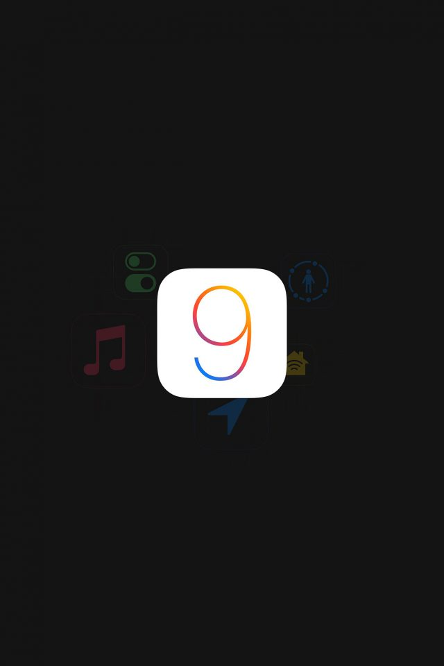 Apple IOS9 Logo Dark Simple Art Android wallpaper