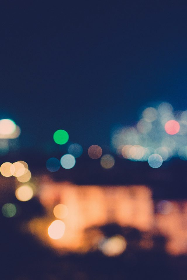 Bokeh City Night Light Art Blue Pattern Android wallpaper