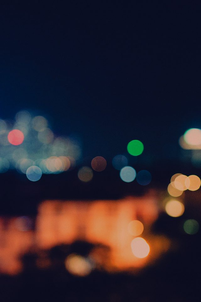 Bokeh City Night Light Art Blue Pattern Dark Android wallpaper