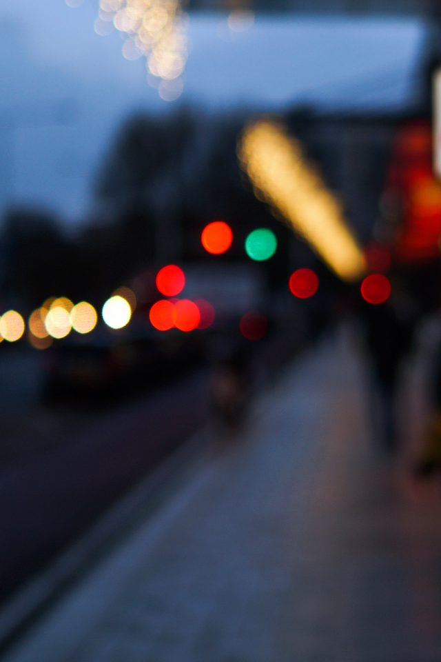 Bokeh Street Lights City Art Android wallpaper