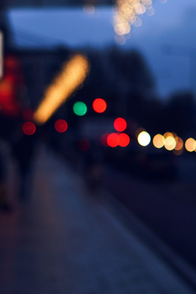 Bokeh Street Lights City Art Blue Android wallpaper