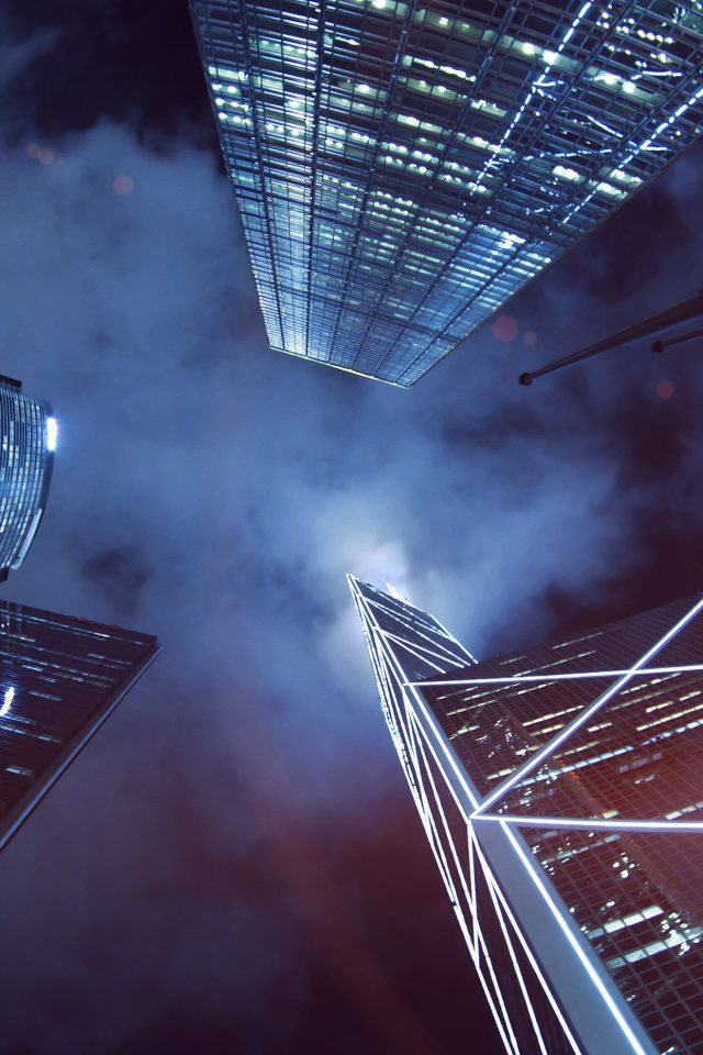 Buildings Blue Flare Night City Sky Android wallpaper