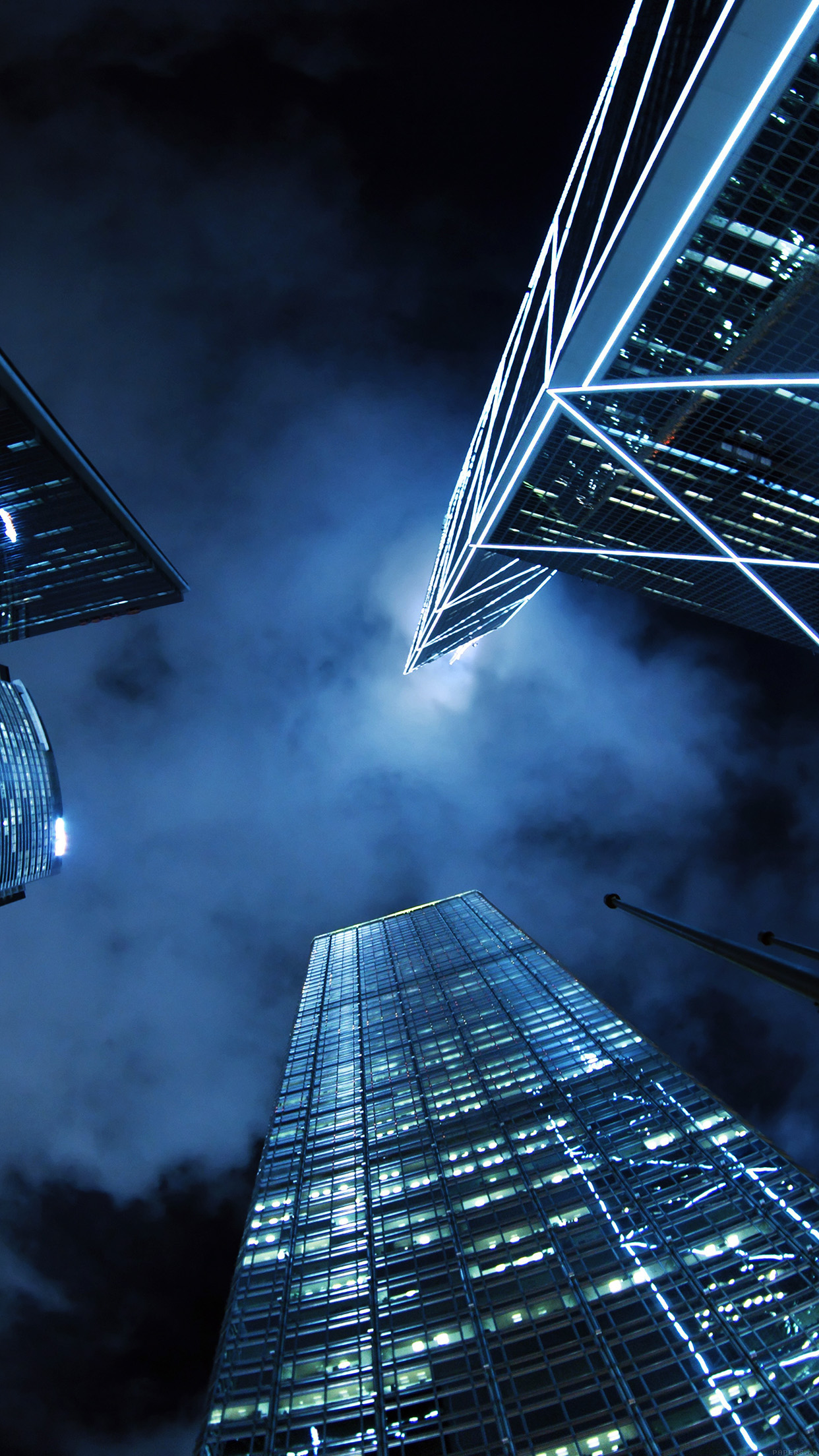 Buildings Blue Night City Sky Android wallpaper