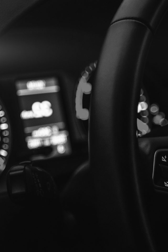 Car Audi Drive Interior Motor Man Dark Bw Night Android wallpaper