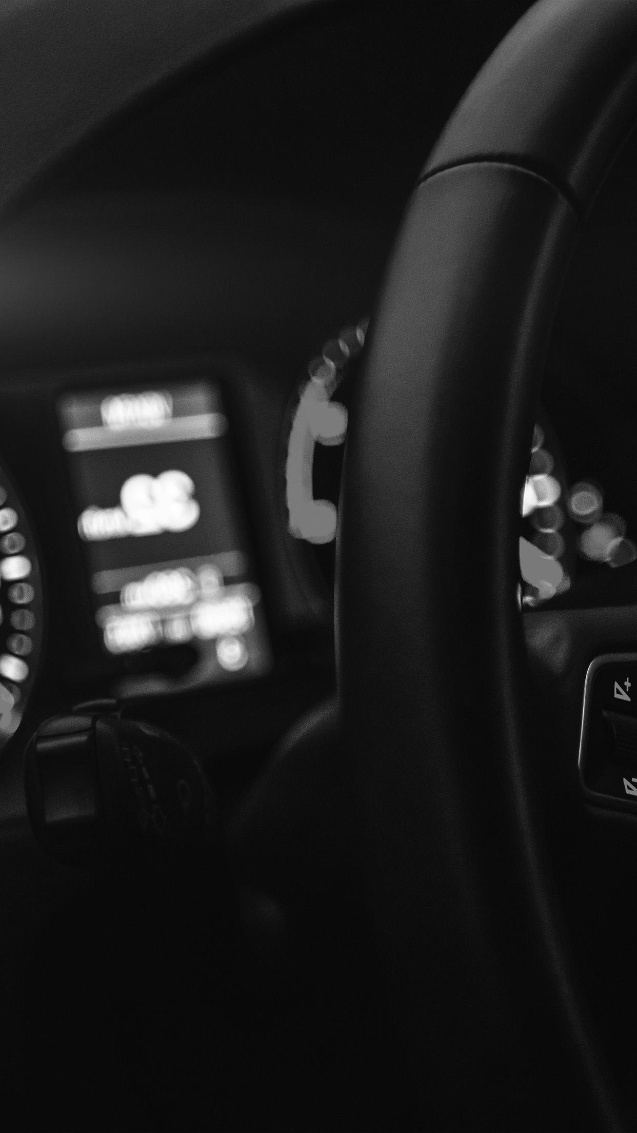 Car Audi Drive Interior Motor Man Dark Bw Night Android Wallpaper