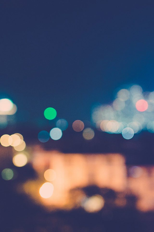 City Night Bokeh Blue Romantic Android wallpaper