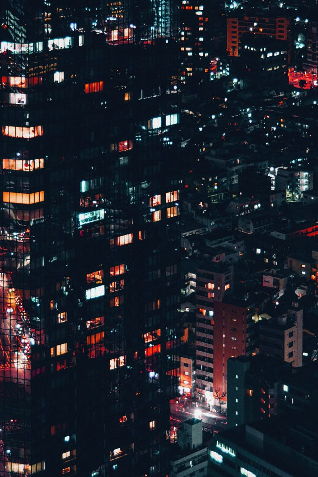 City Night Lights Building Pattern Red Android wallpaper