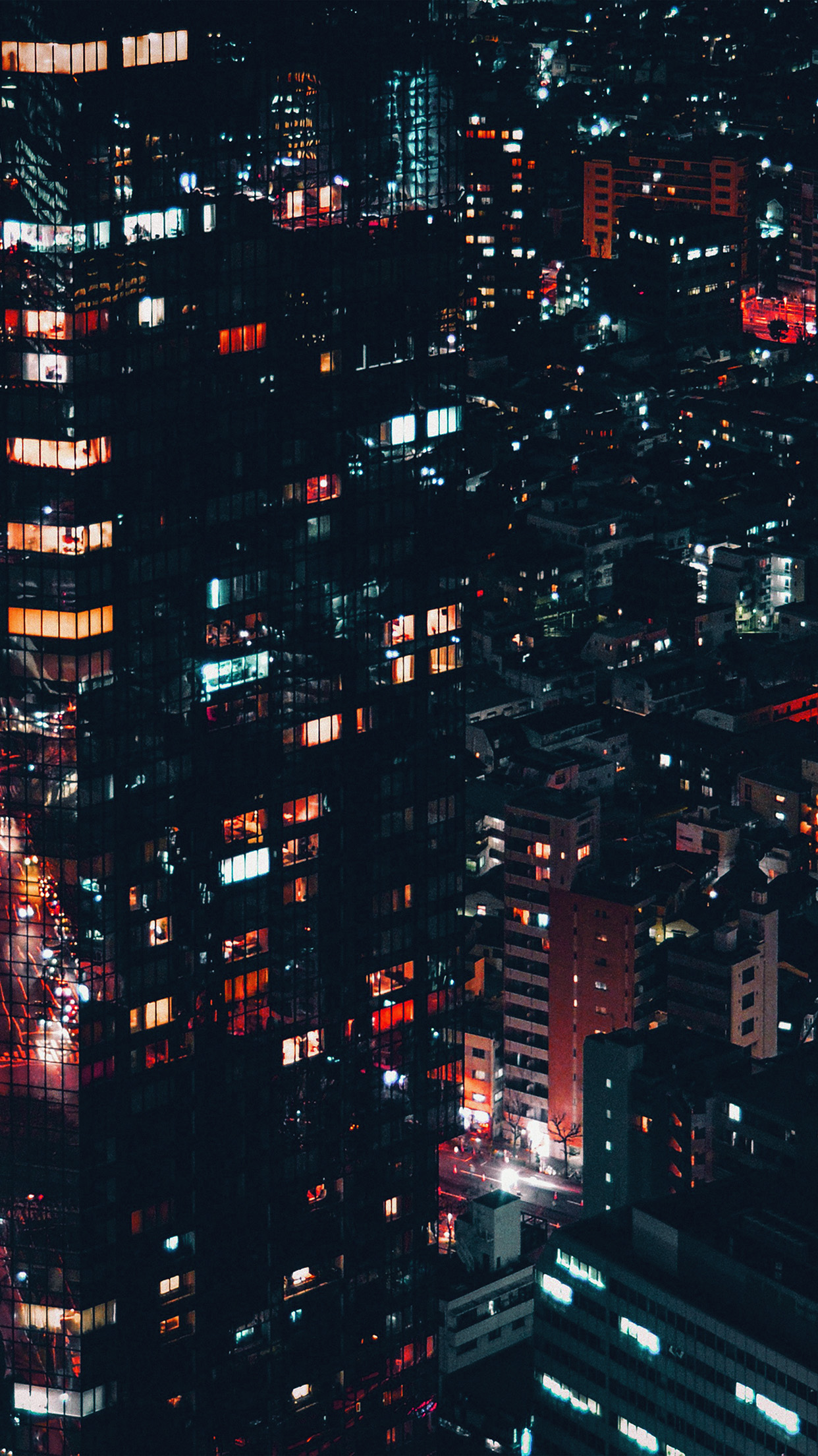 city night lights building pattern red android wallpaper - android