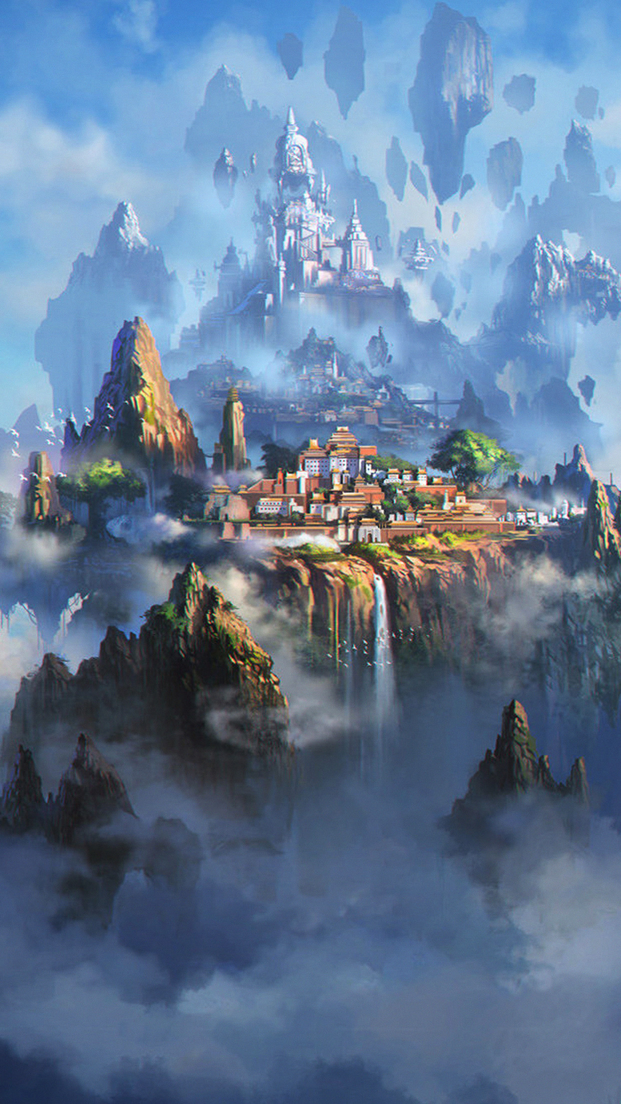 Cloud Town Fantasy Anime Liang Xing Illustration Art Android wallpaper