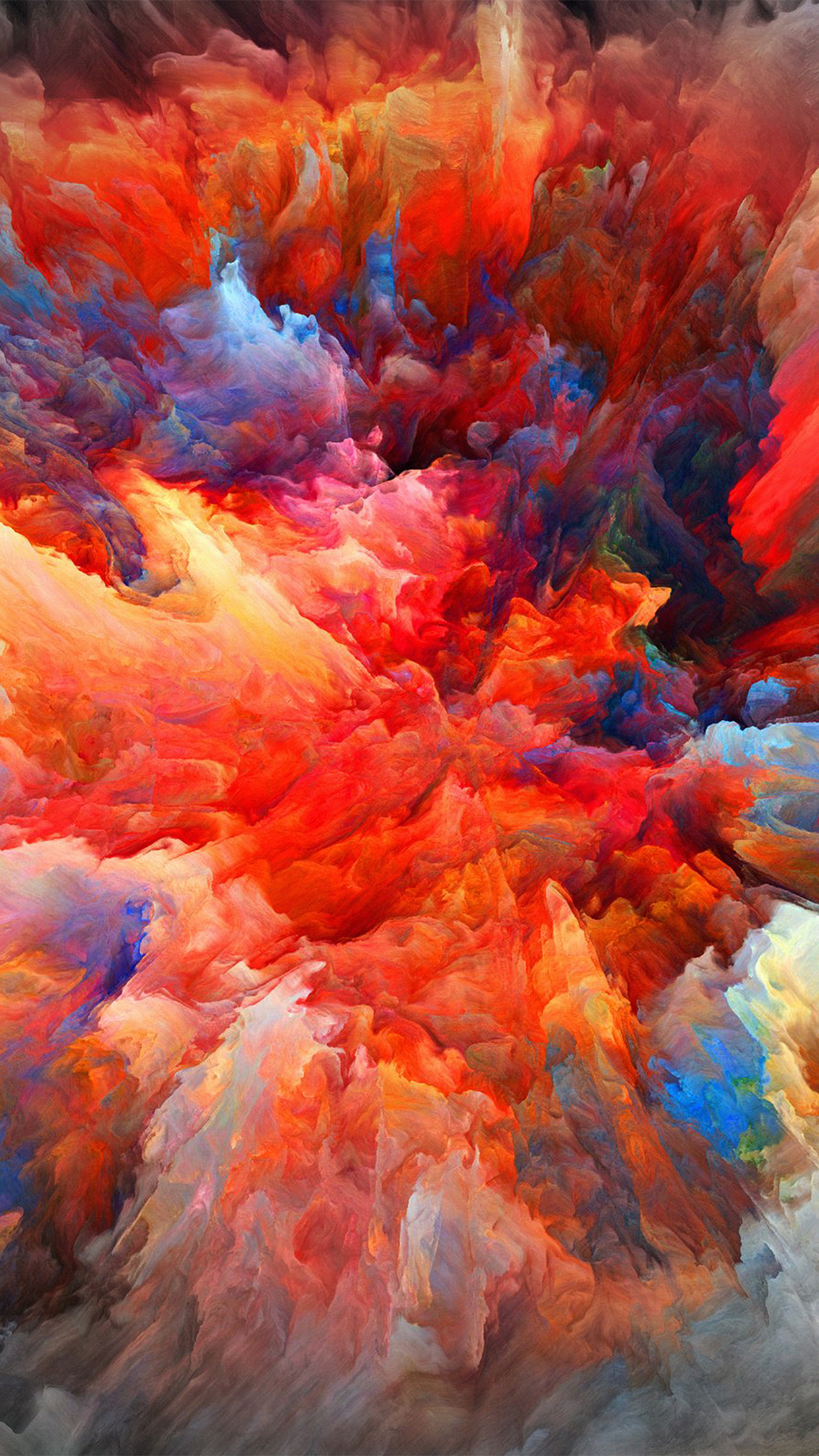 Color Explosion Red Paint Pattern Android wallpaper