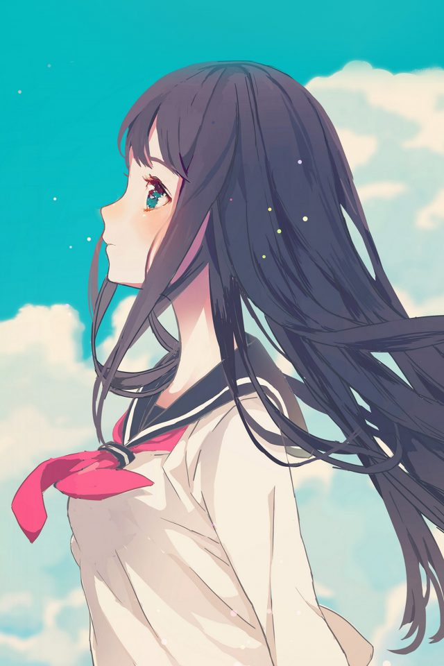 Cute Girl Illustration Anime Sky Android wallpaper