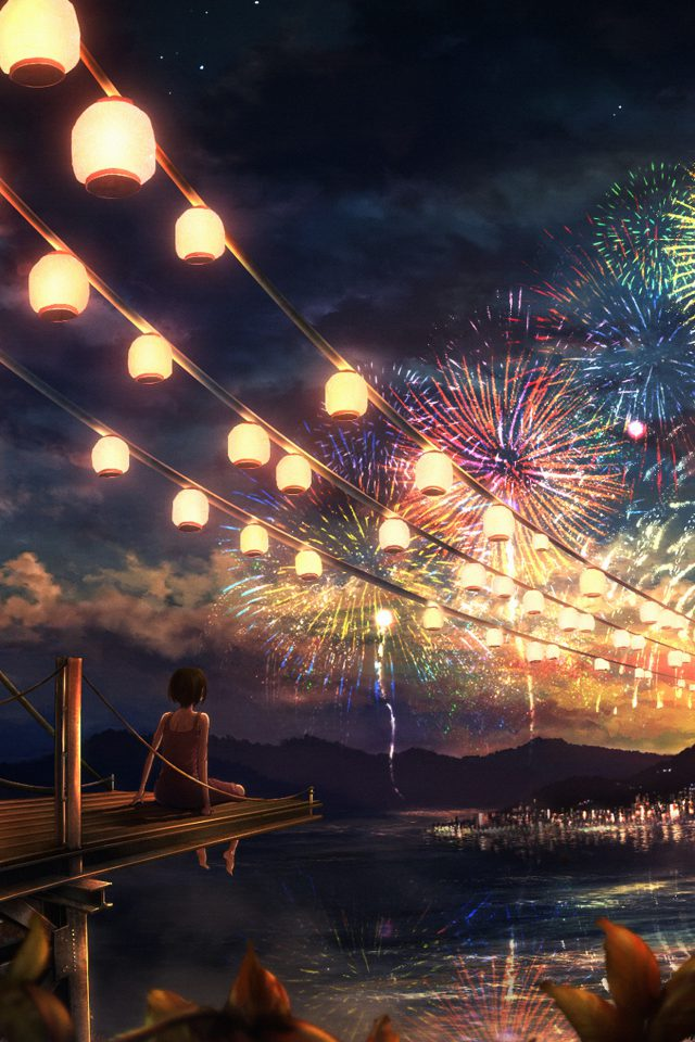 Firework Girl Dark Night Anime Art Illust Android wallpaper