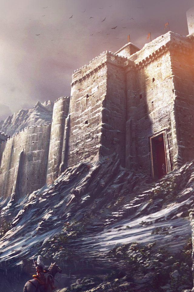 Game Illustration Castle Snow Winter Flare Android wallpaper