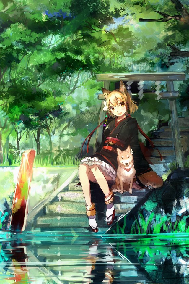 Girl And Dog Green Anime Art Illust Android wallpaper