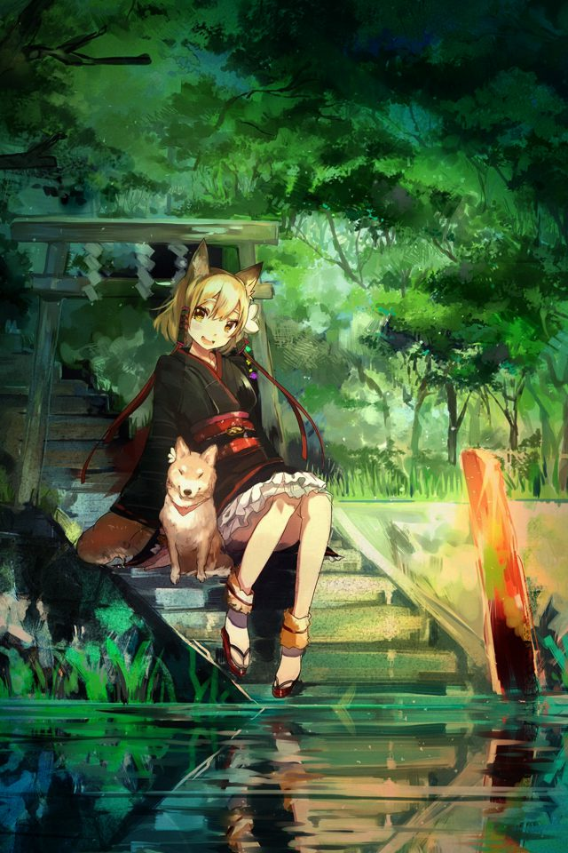 Girl And Dog Green Nature Anime Art Illust Android wallpaper