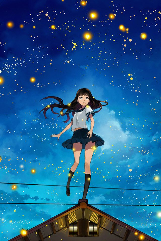 Girl Anime Star Space Night Illustration Art Android wallpaper