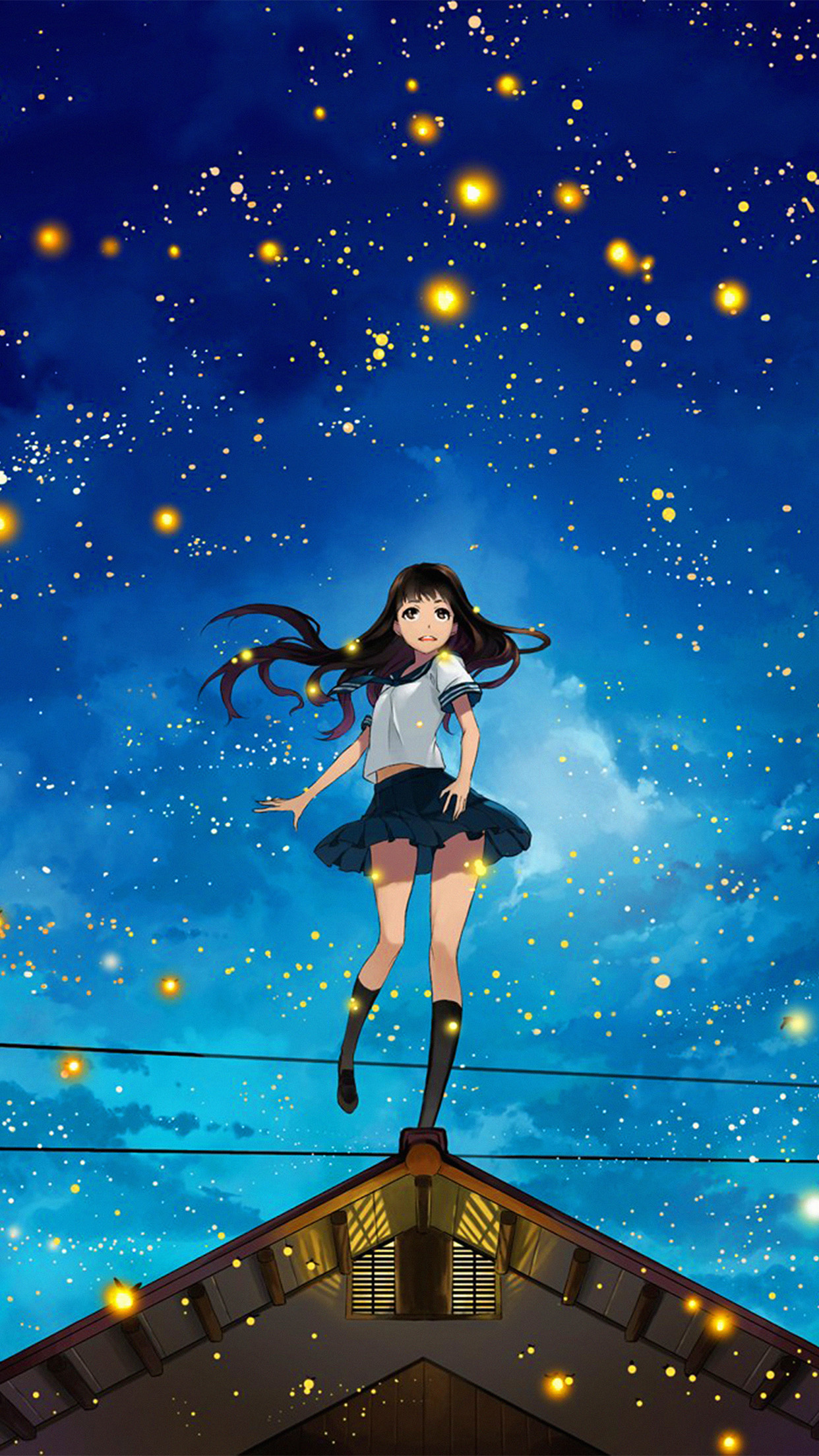 Girl anime star space night illustration art android - Best hd anime wallpapers for android ...