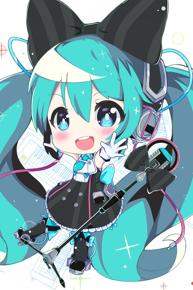 Hatsune Miku Anime Girl Blue Illustration Art Android wallpaper
