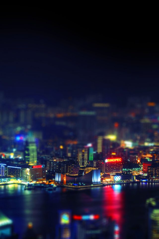 Hongkong Night Cityscapes Lights Android wallpaper