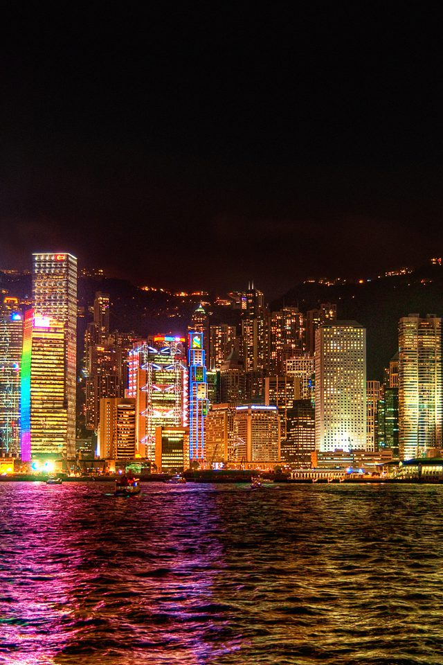 Hongkong Night Symposium Of Light Android wallpaper