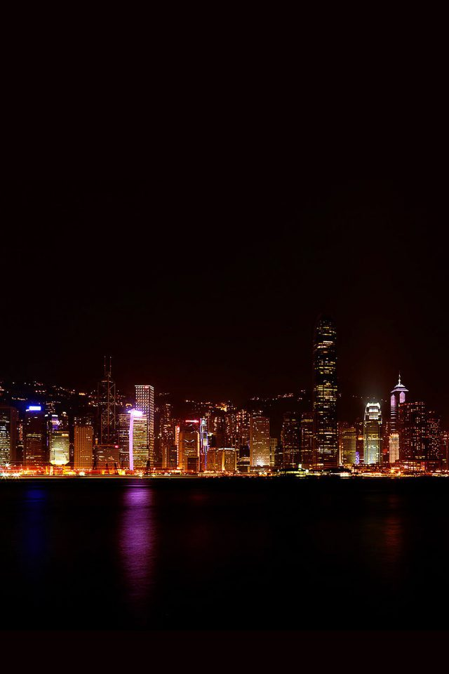 Hongkong Skyline City Dark Art Android wallpaper