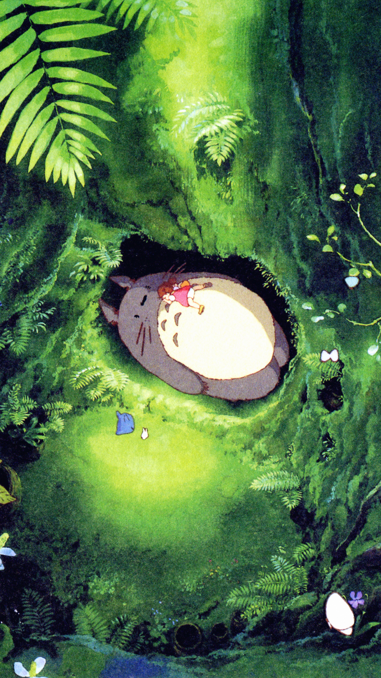 Japan Totoro Art Green Anime Illustration Android wallpaper