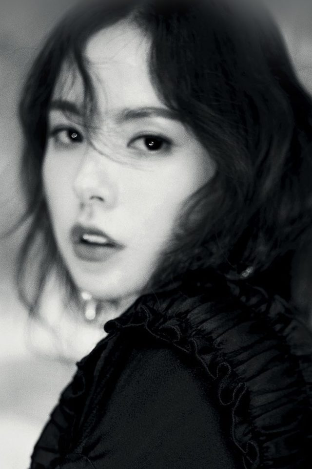 Kpop Minhyorin Girl Dark Bw Celebrity Bigbang Android wallpaper