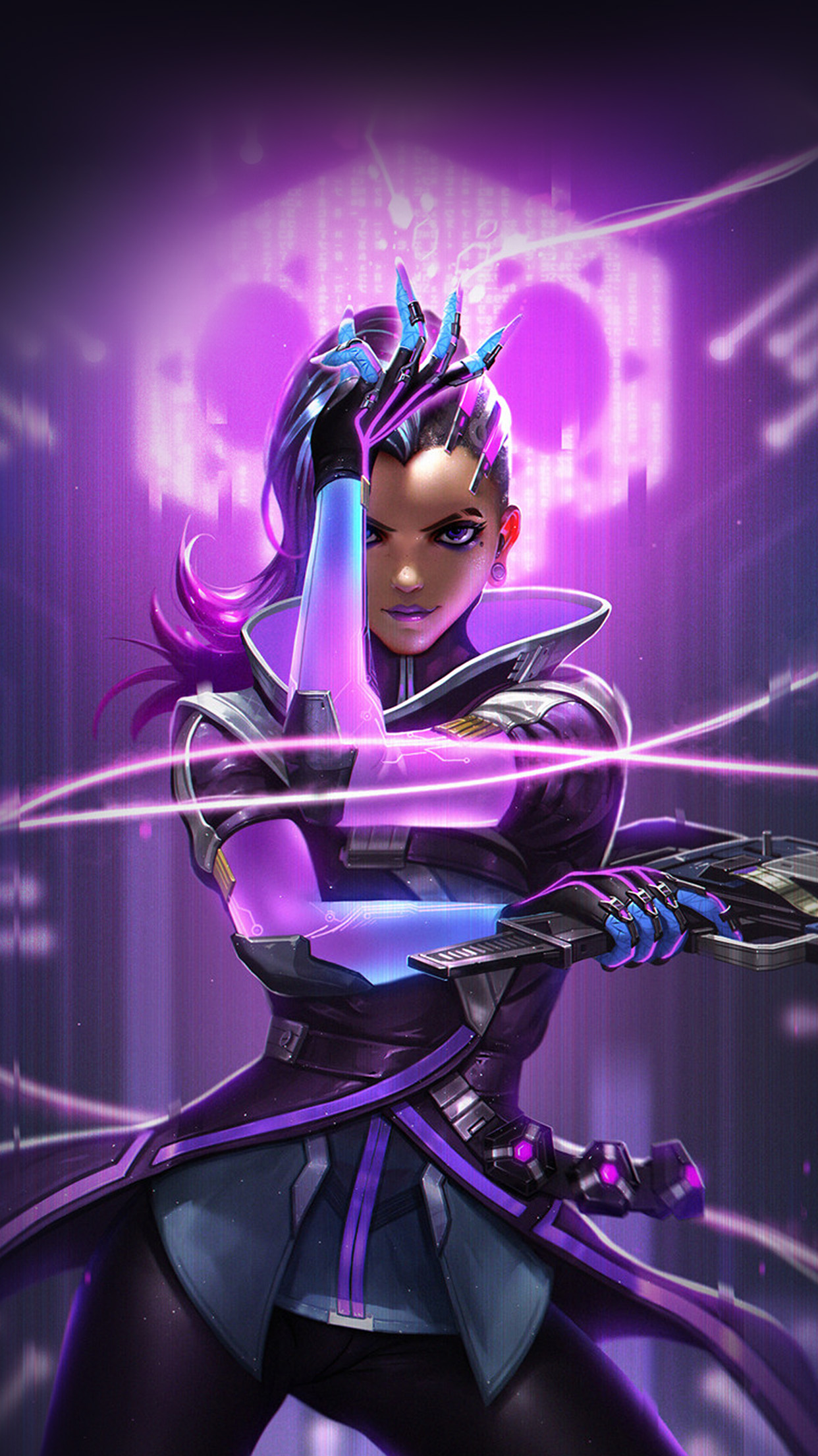 Liang Xing Overwatch Sombra Purple Game Hero Illustration Art Android wallpaper