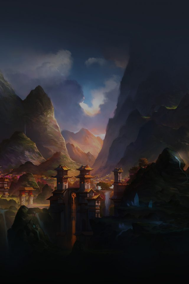 Mountain Art Illust China Anime Peaceful Android wallpaper