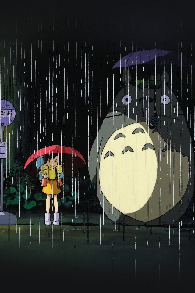 My Neighbor Totoro Art Illust Rain Anime Android wallpaper