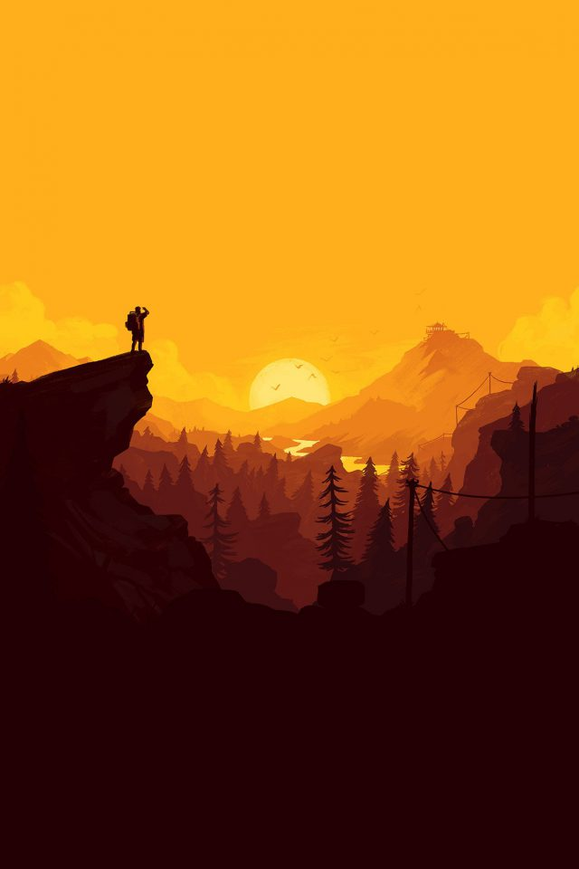 Nature Sunset Simple Minimal Illustration Art Android wallpaper