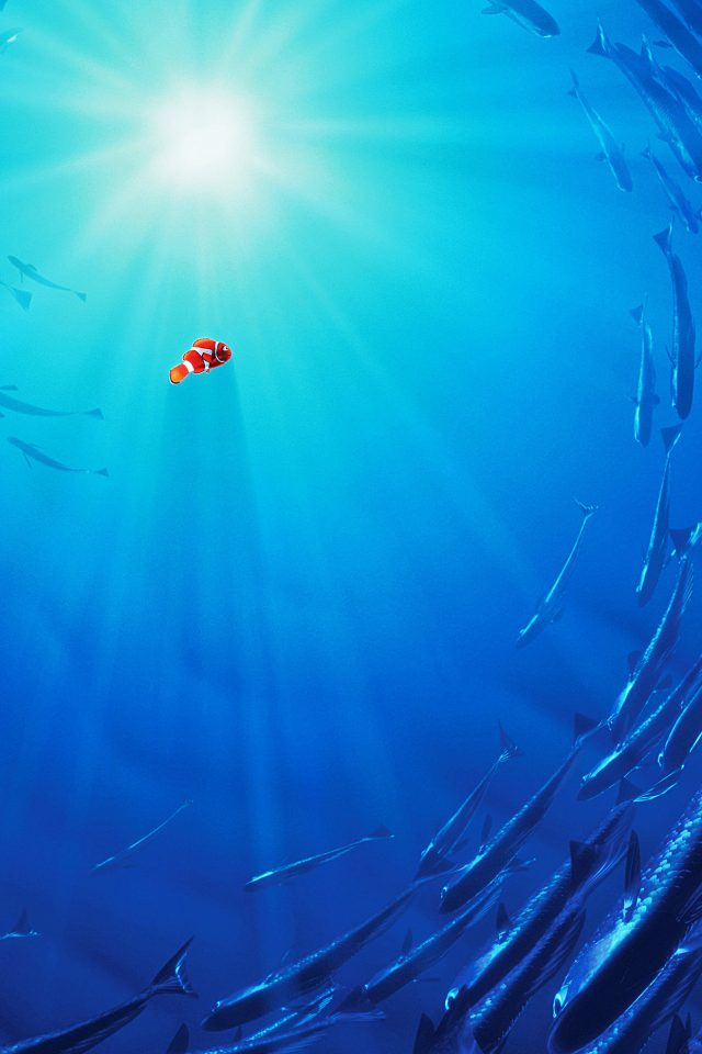 Nemo Disney Film Anime Sea Illustration Art Blue Android wallpaper