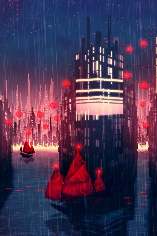 Rainy Anime City Art Illust Android wallpaper
