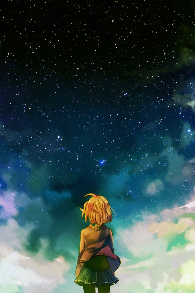 Starry Night Illust Anime Girl Android wallpaper