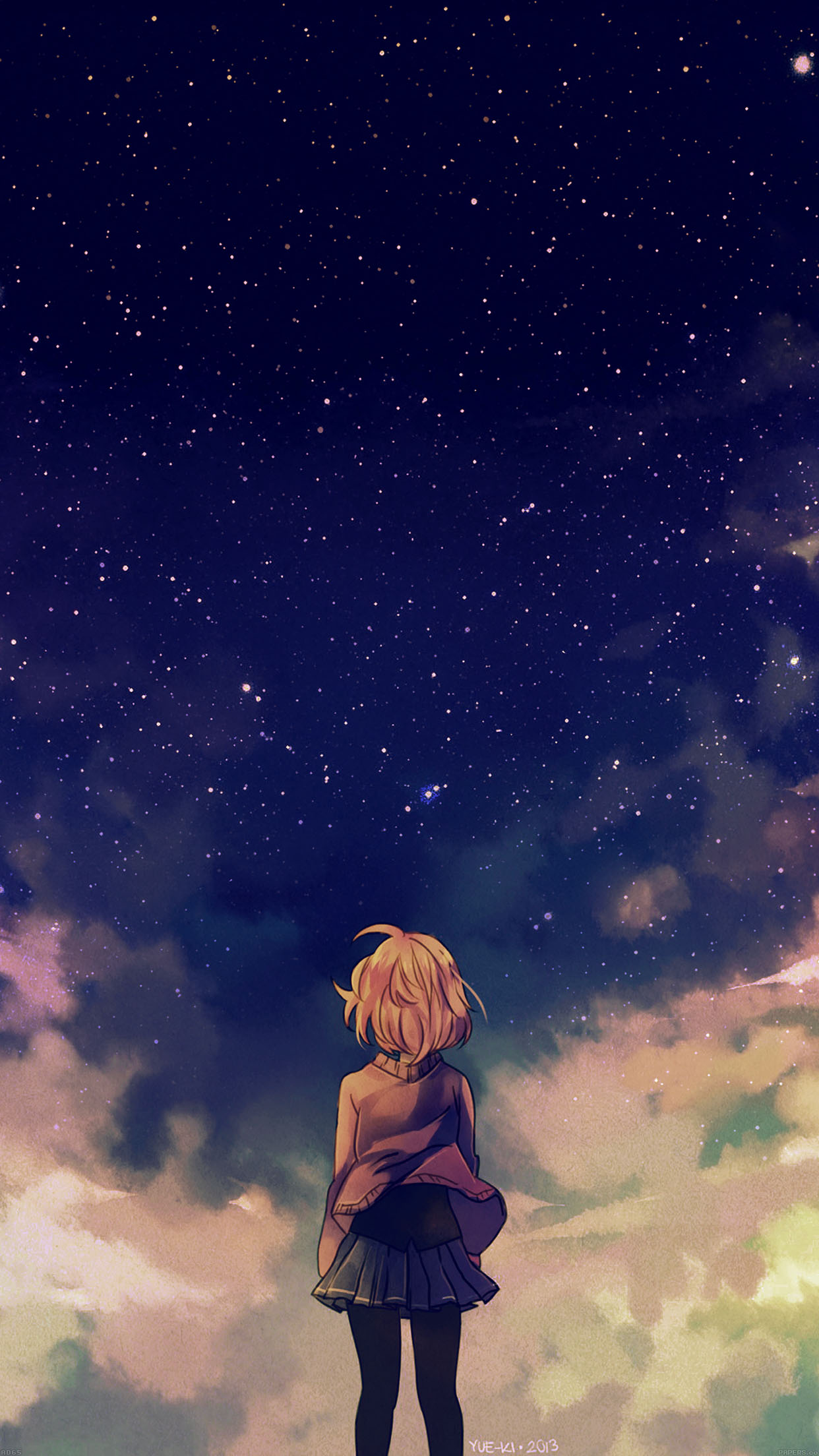 Starry Space Illust Anime Girl Android wallpaper