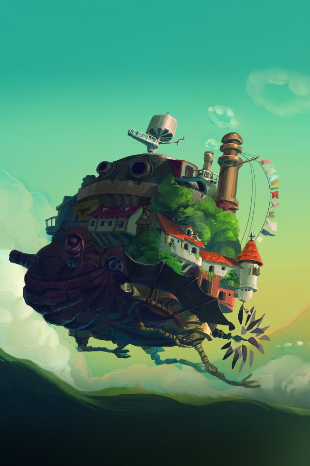 Studio Ghibli Castle Anime Green Peace Art Illustration Android wallpaper