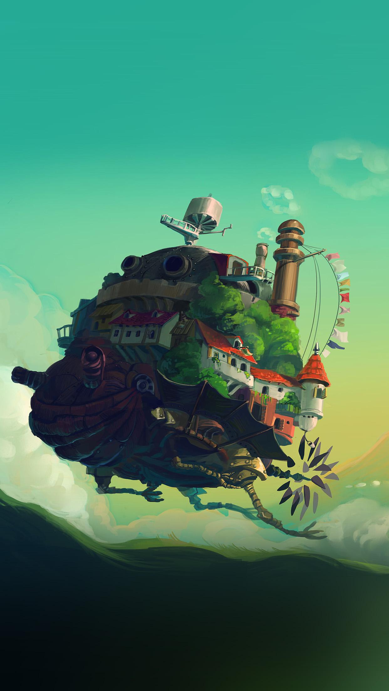 Studio Ghibli Castle Anime Green Peace Art Illustration Android Wallpaper