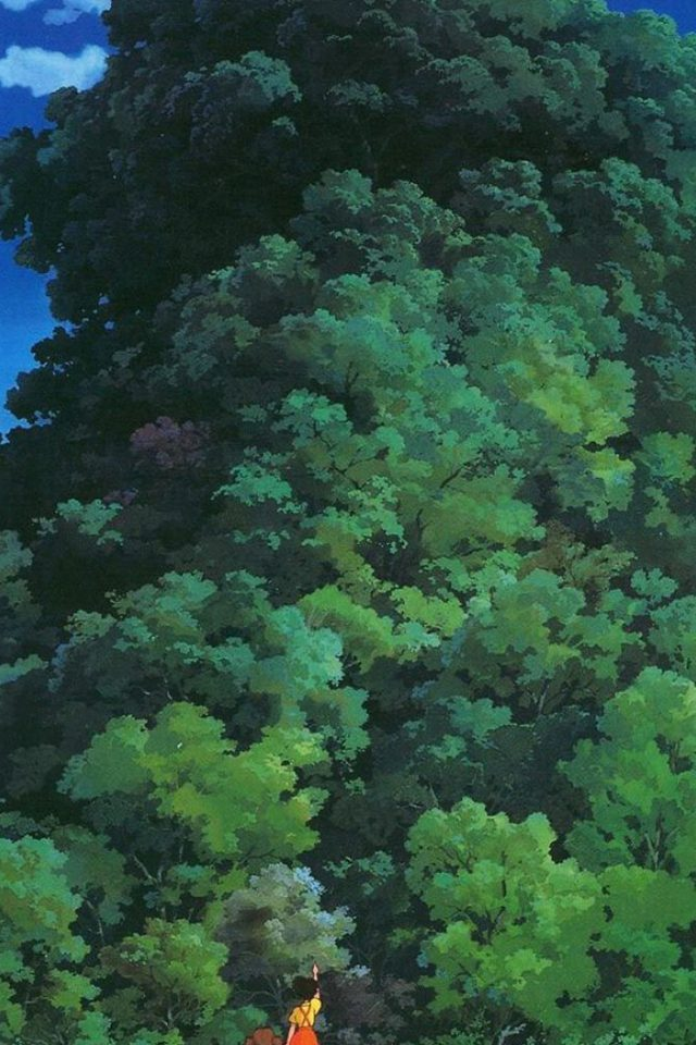 Studio Ghibli Tree Green Art Illustration Love Anime Android wallpaper