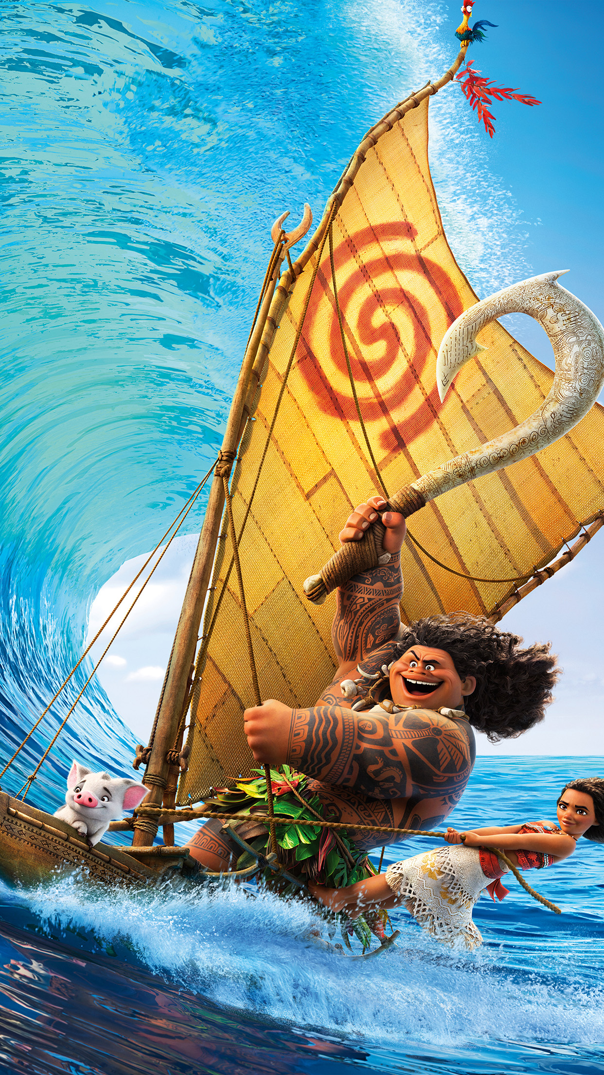 Surf Moana Disney Film Anime Illustration Art Android Wallpaper