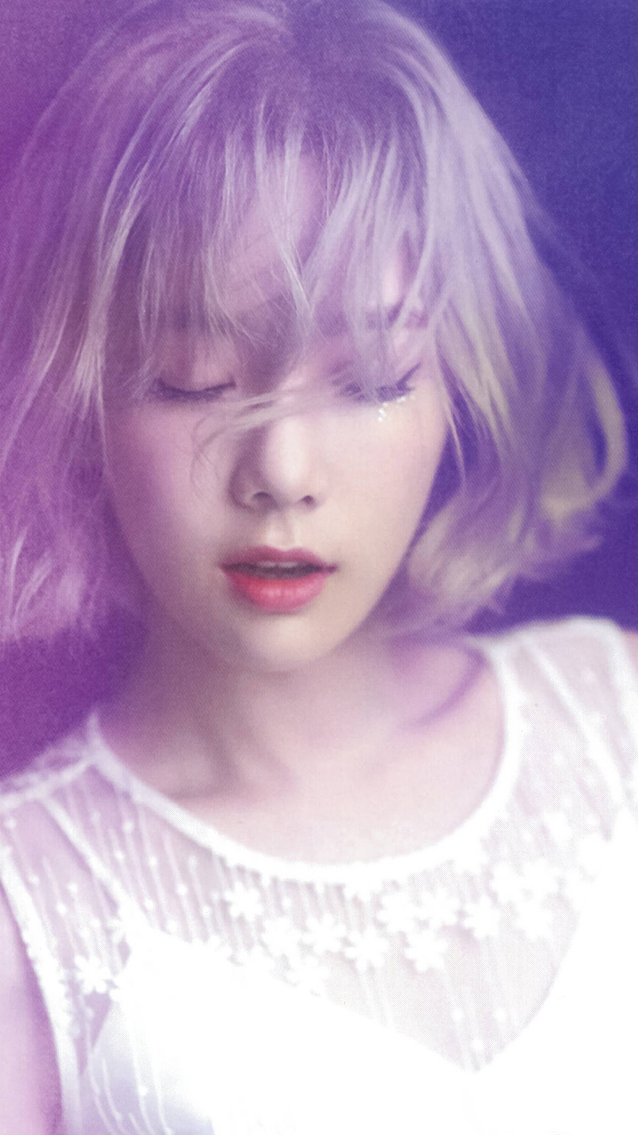 Taeyeon Kpop Snsd Purple Pink Girl Android Wallpaper
