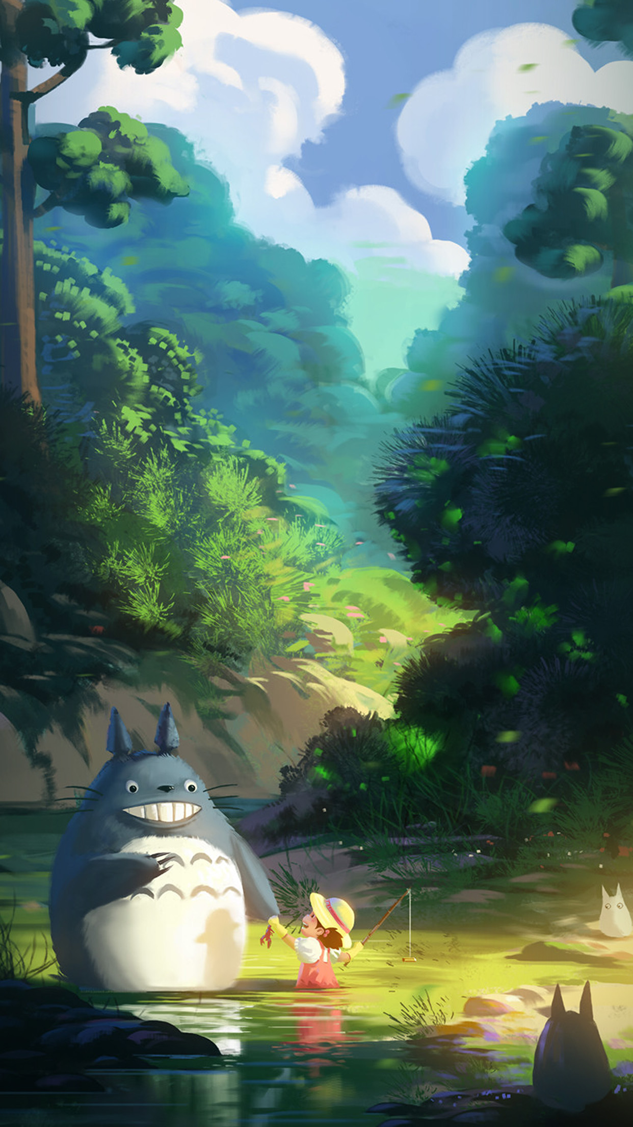 totoro anime liang xing illustration art android wallpaper - android