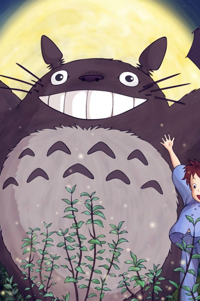 Totoro Forest Anime Cute Illustration Art Blue Android wallpaper