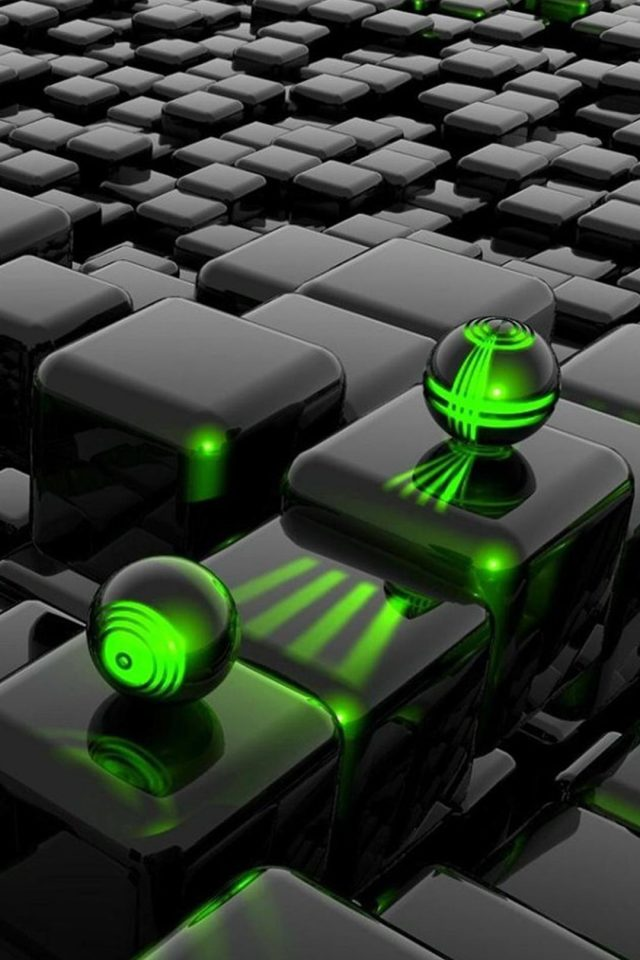 3D Cubes And 3D Green Laser Android wallpaper