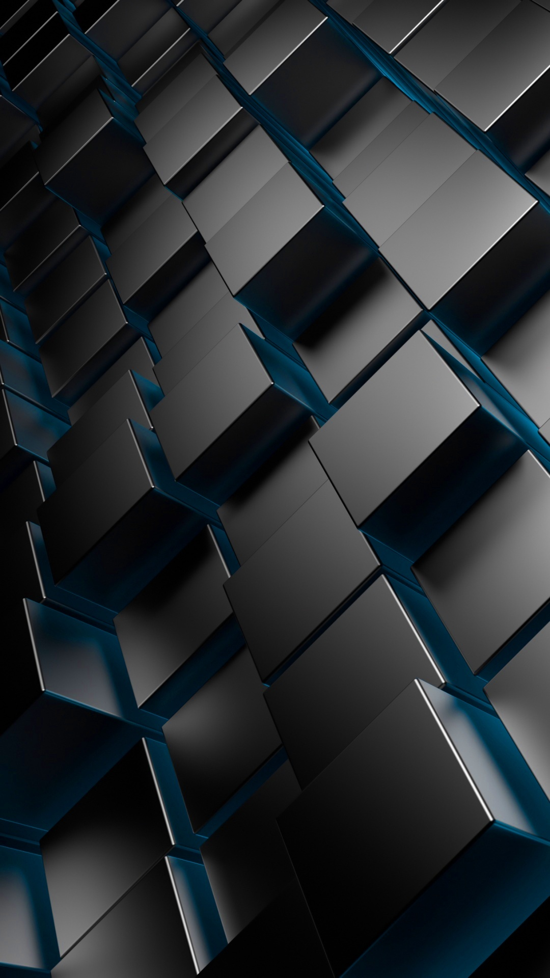 3D Metal Cubes Blue Android wallpaper