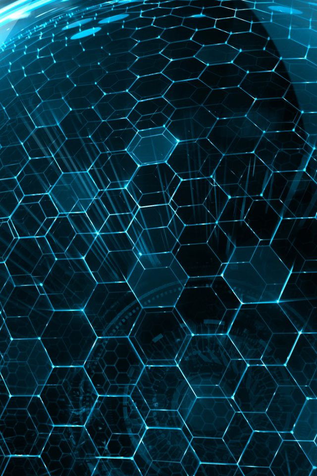 3D World Hexagon Art Blue Android wallpaper