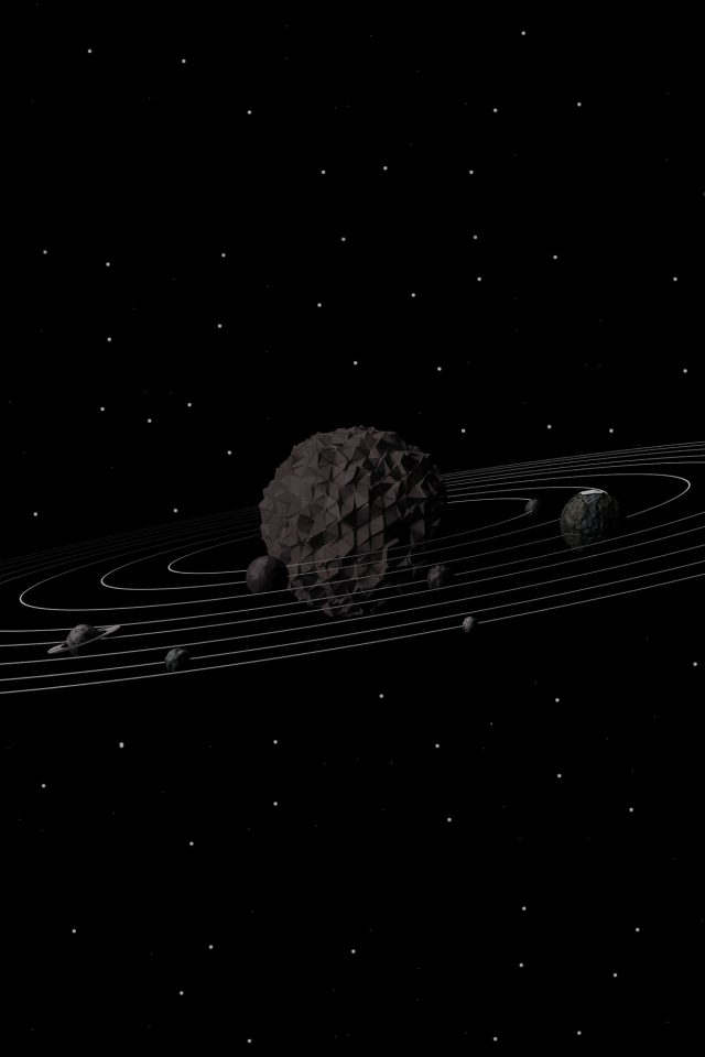 3d Solar System Dark Space Art Minimal Android wallpaper