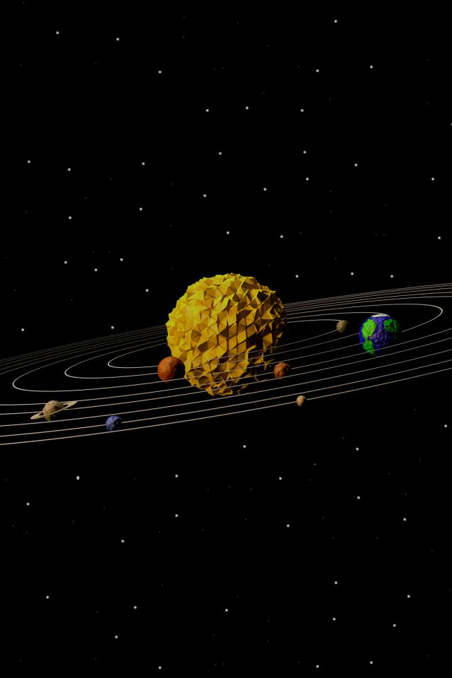3d Solar System Space Art Minimal Android wallpaper